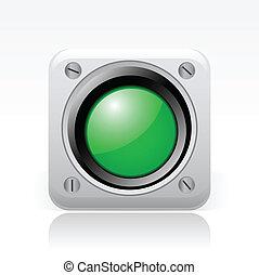 vector, ilustración, de, solo, aislado, verde, semáforo,...