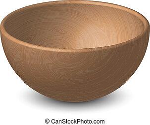 vector, ilustración, de, tazón de madera