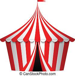 vector, ilustración, de, tienda de circo