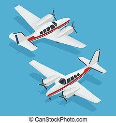 vector, ilustración, de, un, airplanes., avión, flight.,...