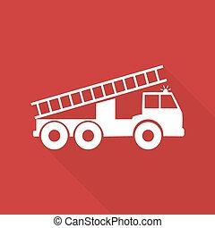 vector, ilustración, de, un, camión de bomberos, con, largo,...