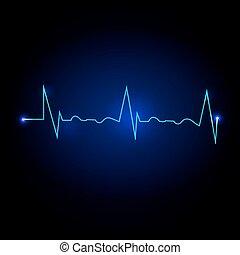 vector, ilustración, de, un, cardíaco, frecuencia, en, azul oscuro, plano de fondo
