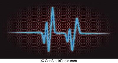 vector, ilustración, de, un, cardíaco, frecuencia, plano de fondo