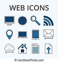 vector, ilustración, de, un, conjunto, lineal, iconos