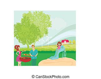 vector, ilustración, de, un, familia , tener un picnic