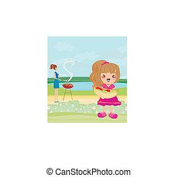 vector, ilustración, de, un, familia , tener un picnic, en, un, parque