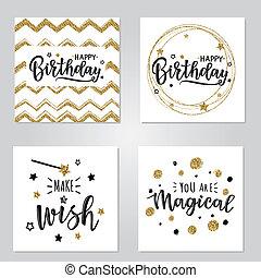 vector, ilustración, de, un, feliz cumpleaños, invitación, conjunto