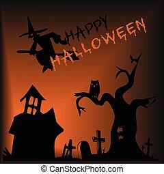 vector, ilustración, de, un, halloween, plano de fondo