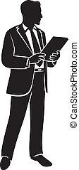 vector, ilustración, de, un, hombre de negocios