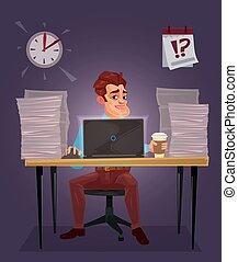 vector, ilustración, de, un, hombre, trabajo encendido, el, computador portatil