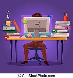 vector, ilustración, de, un, hombre, trabajo encendido, el, computadora