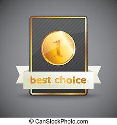 vector, ilustración, de, un, mejor, opción, etiqueta