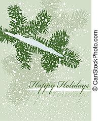 vector, ilustración, de, un, navidad, rama, con, nieve
