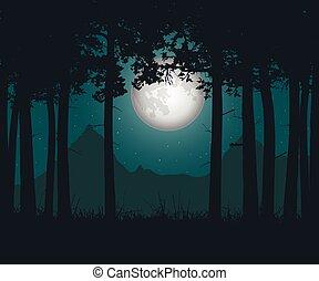 vector, ilustración, de, un, obsesionante, bosque, con, pasto o césped, debajo, un, verde, cielo de la noche, con, luna y estrellas