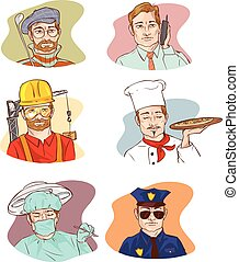 vector, ilustración, de, un, ocupación, hombre, caracteres, sonreír feliz