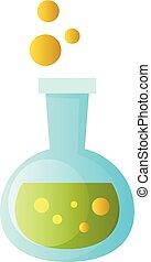 vector, ilustración, de, un, químico, cubilete, con, verde, líquido, en, él, blanco, plano de fondo