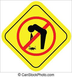 vector, ilustración, de, un, señal de peligro, con, un, icono, no, vomitar, lugar