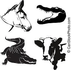 vector, ilustración, de, vario, cultive animales, siluetas
