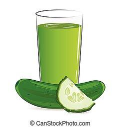 vector, ilustración, de, verdura fresca, jugo