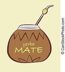 vector, ilustración, de, yerba, compañero, calabash, con,...