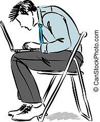 vector, ilustración del hombre, mientras, postura, ...