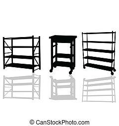 vector, ilustración, estantes
