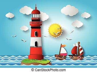 vector, ilustración, faro, con, seascape.