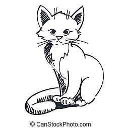 vector, ilustración, gatito, sentado