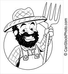 vector, ilustración, granjero