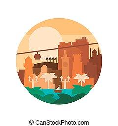 vector, ilustración, high-quality, pintado, plano, colores, y, ciudad, de, árboles de palma, por, el, mar