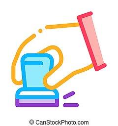 vector, ilustración, icono, contorno, mano, signet, tribunal