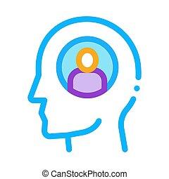 vector, ilustración, icono, persona, contorno, pensamiento, ...