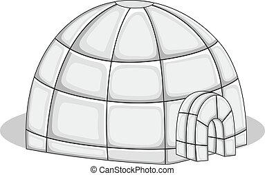 vector, -, ilustración, iglú