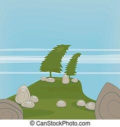 vector, ilustración, ilustración, con, dos, curvo, árboles de abeto, en, un, colina, y, roca gris, piedras, contra, un, plano de fondo, de, hierba verde, y, un, cielo azul, con, delgado, translúcido, clouds.
