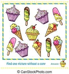 vector, ilustración, -, juego, para, niños, hallazgo, imagen, withuot, copia
