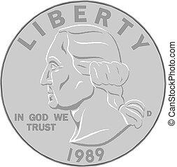 vector, ilustración, moneda