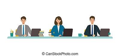 vector, ilustración negocio, concept., conferencia, sonreír...