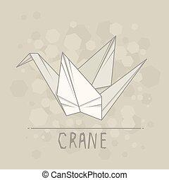 vector, ilustración, papel, origami, de, crane.