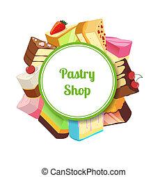 vector, ilustración, para, pastel, tienda, o, confitería,...