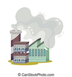 vector, ilustración, peligroso, plantas, ambiente industrial