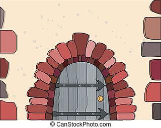vector, ilustración, puertas