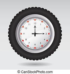 vector, ilustración, reloj