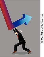 vector, ilustración, renacimiento, empujar, empresa / ...