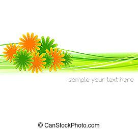 vector, ilustración, resumen, plano de fondo, con, verano, flor
