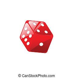vector, ilustración, rojo, dados