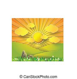 vector, ilustración, salida del sol, encima, montaña