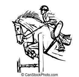 vector, ilustración, saltar, exposición