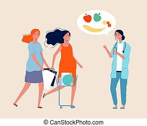 vector, ilustración, shopping., habla, mujeres,...