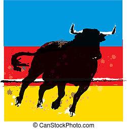 vector, ilustración, toro