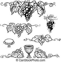 vector, ilustración, uvas